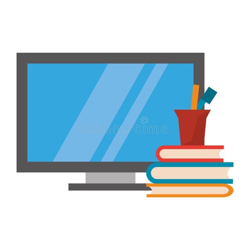 Компьютер и книги с ручками в чашке бесплатная иллюстрация