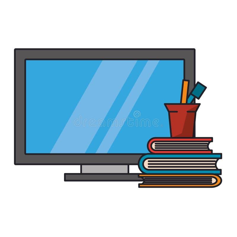 Компьютер и книги с ручками в чашке иллюстрация вектора