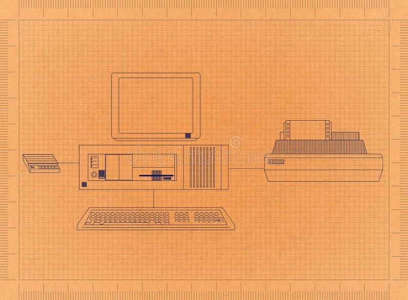Компьютер и принтер - ретро светокопия бесплатная иллюстрация