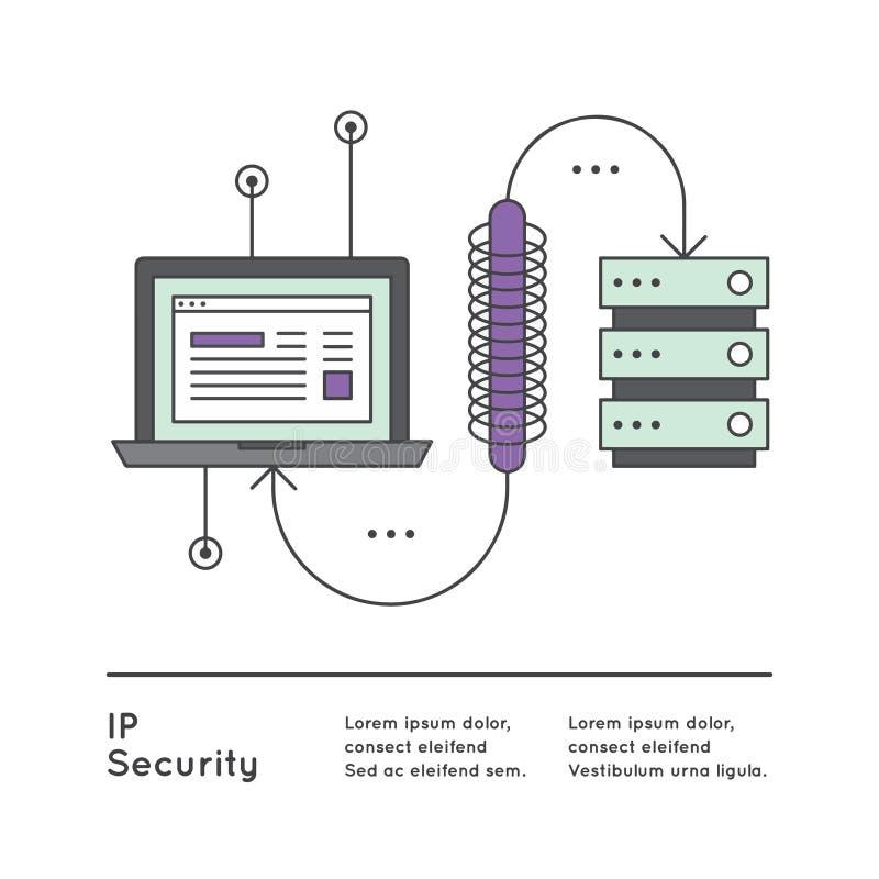 Компьютер и сервер безопасностью Internet Protocol или связью между IPsec иллюстрация штока