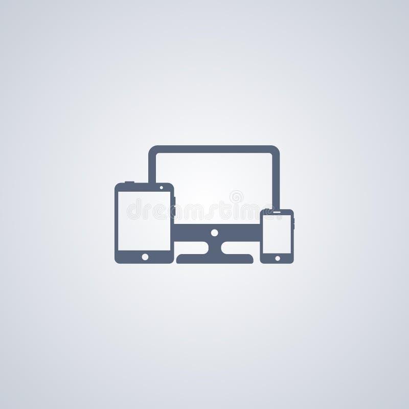 Компьютер и устройства, vector самый лучший плоский значок бесплатная иллюстрация