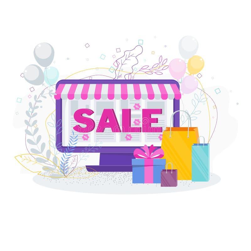 Компьютер и хозяйственные сумки Продажа в онлайн магазине бесплатная иллюстрация