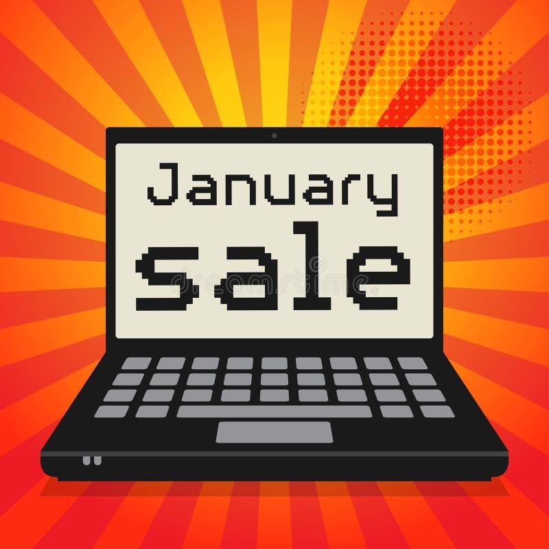 Компьютер-книжка, концепция дела с продажей в январе текста бесплатная иллюстрация