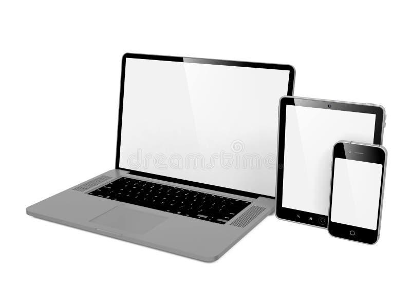 Компьютер, компьтер-книжка и телефон. иллюстрация вектора