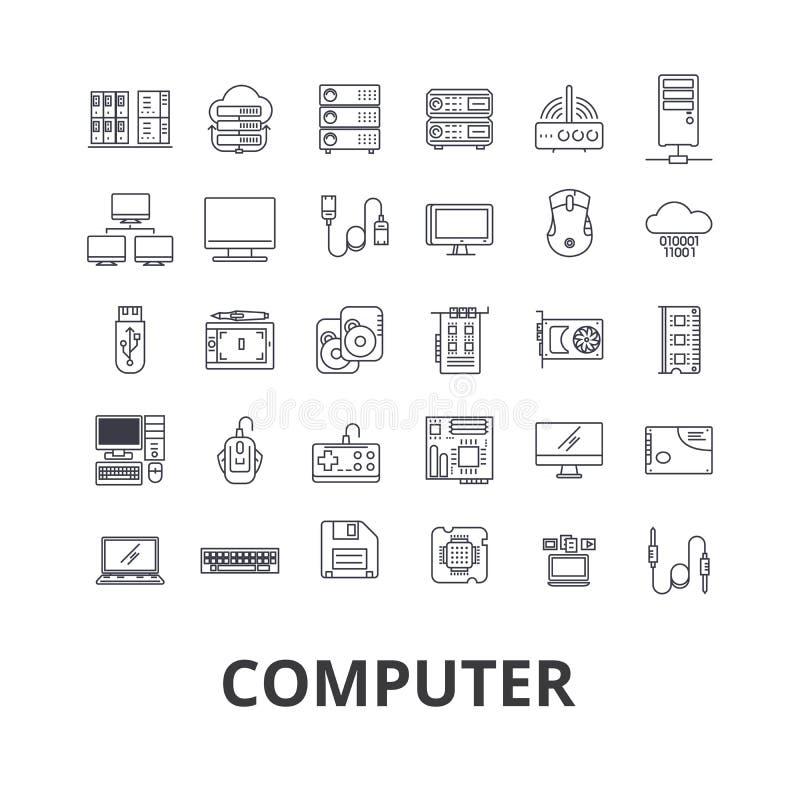 Компьютер, компьтер-книжка, экран компьютера, технология, интернет, мышь, монитор, линия значки сети Editable ходы плоско иллюстрация вектора