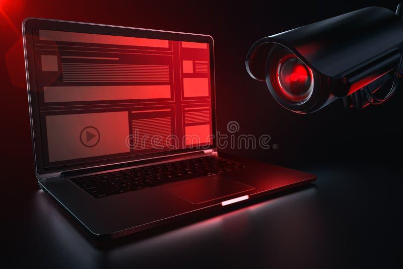 Компьютер красного lense камеры просматривая для журналов истории и данных по просматривать Директива Европейского парламента к п бесплатная иллюстрация