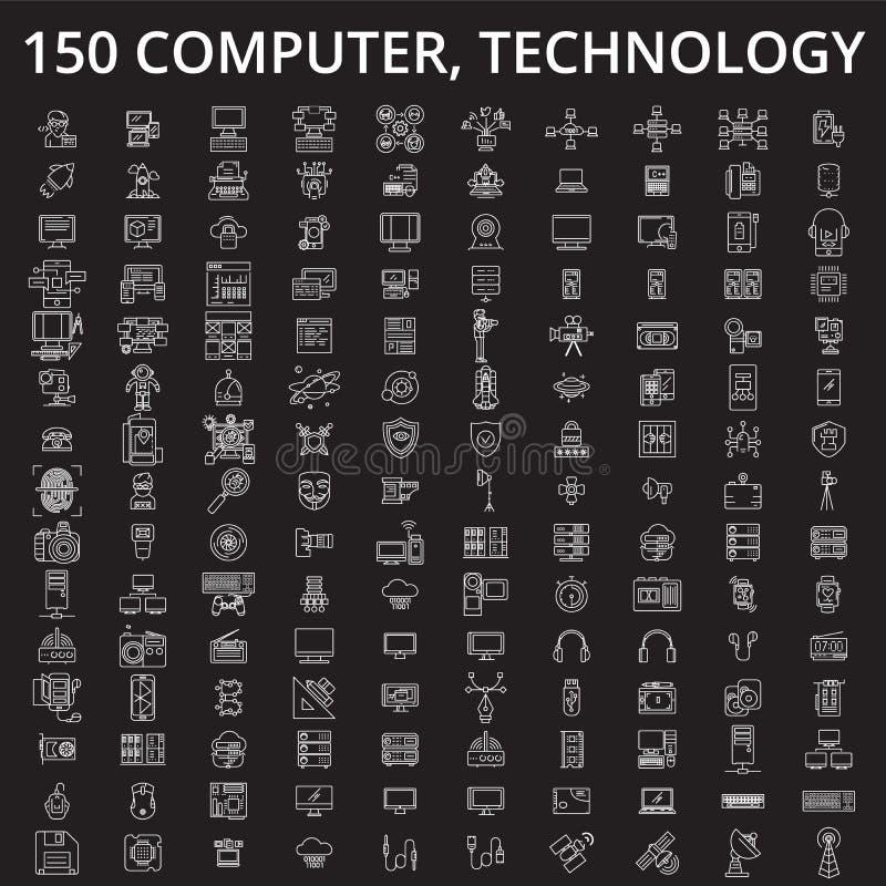 Компьютер, линия набор технологии editable вектора значков на черной предпосылке Компьютер, план технологии белый иллюстрация вектора