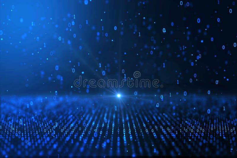 Компьютер мировоззренческой доктрины цифров произвел голубую бинарную предпосылку иллюстрация штока