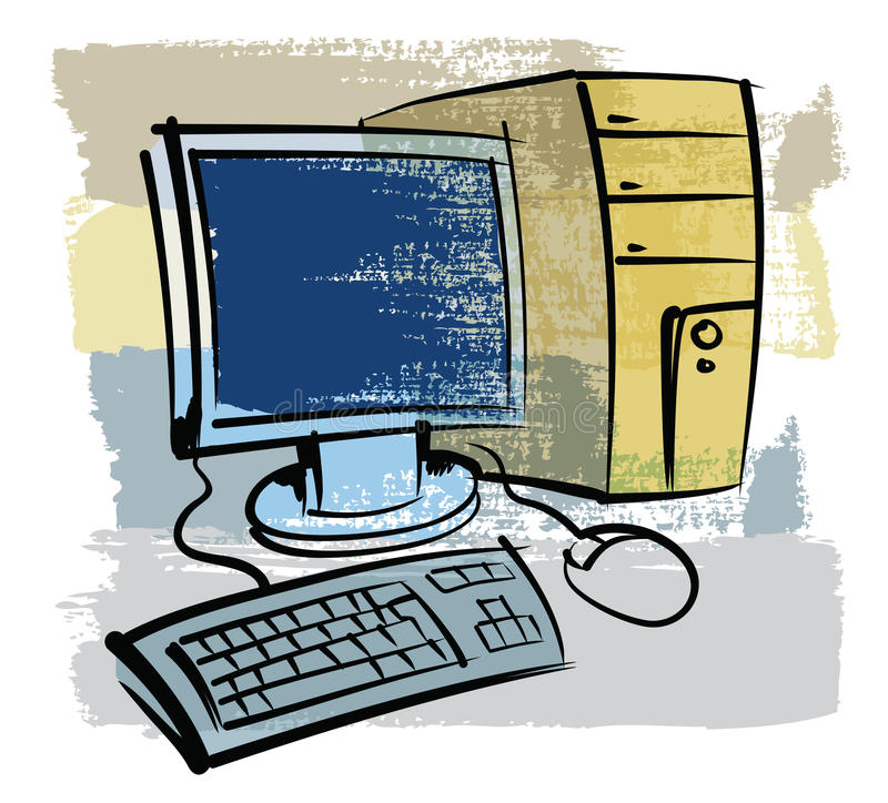 Компьютер нарисованный рукой бесплатная иллюстрация