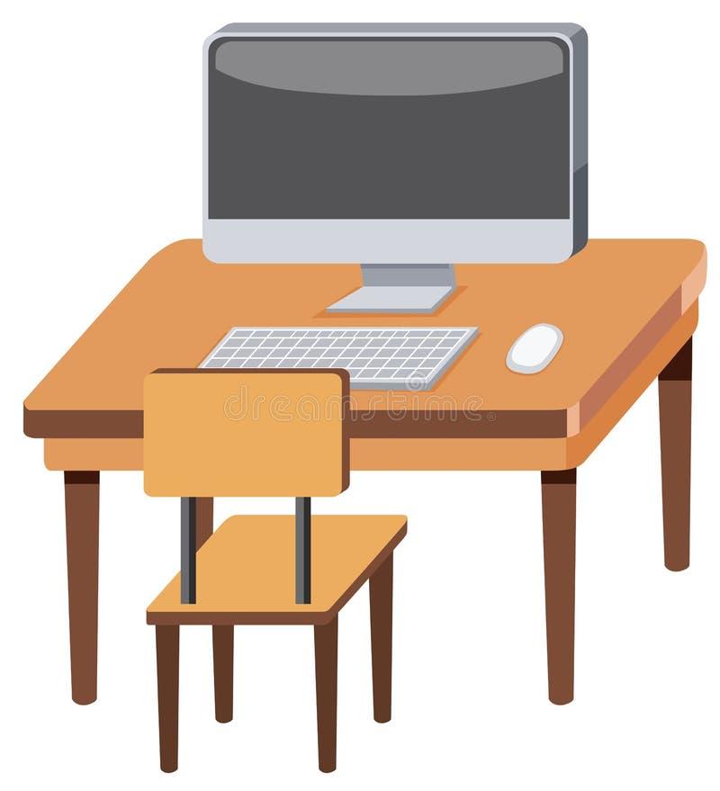 Компьютер на деревянном столе бесплатная иллюстрация