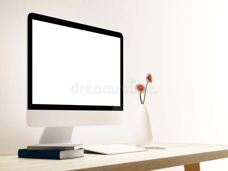 Компьютер на деревянной таблице в комнате иллюстрация штока