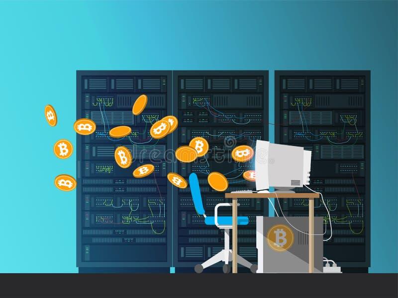 Компьютер на серверах предпосылки Bitcoin понижается из монитора иллюстрация штока