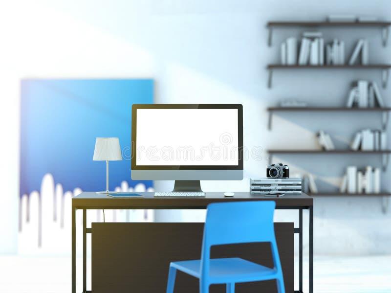 Компьютер на таблице в современной студии бесплатная иллюстрация