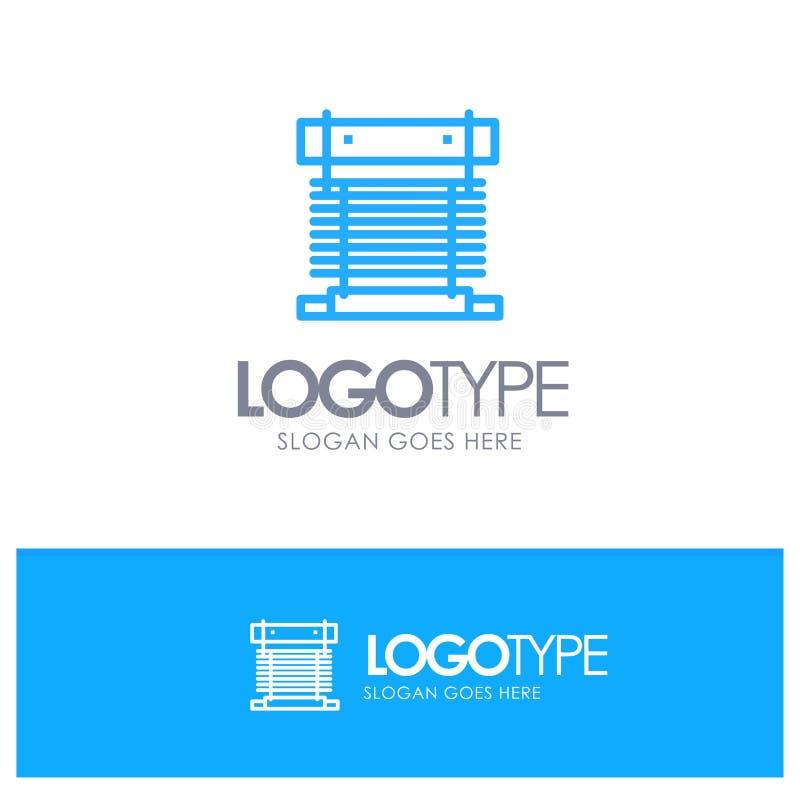 Компьютер, охладитель, охлаждая, C.P.U., логотип плана вентилятора голубой с местом для слогана иллюстрация штока