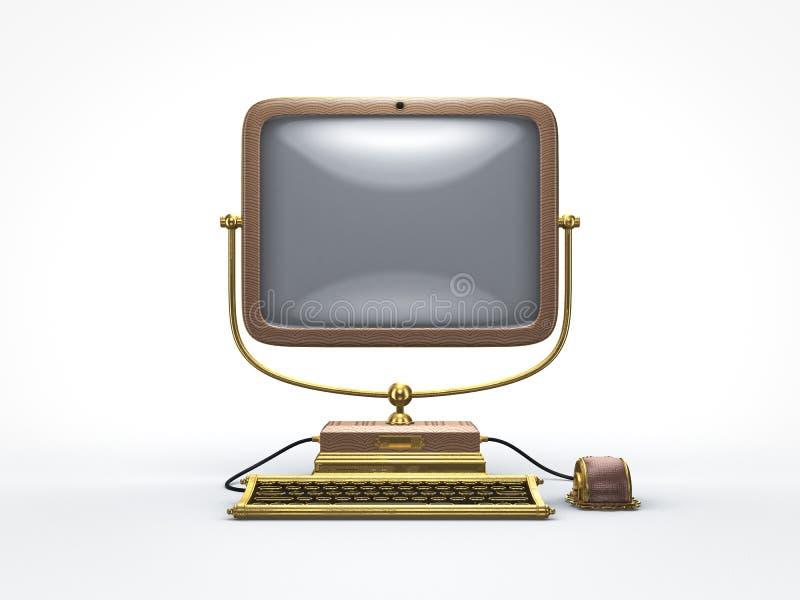 Компьютер пара панковский винтажный иллюстрация штока