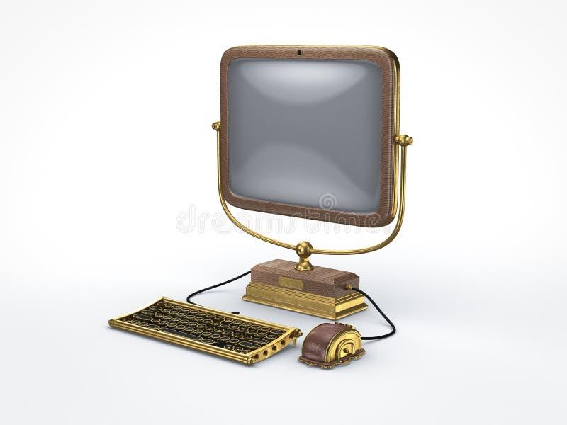 Компьютер пара панковский винтажный иллюстрация вектора