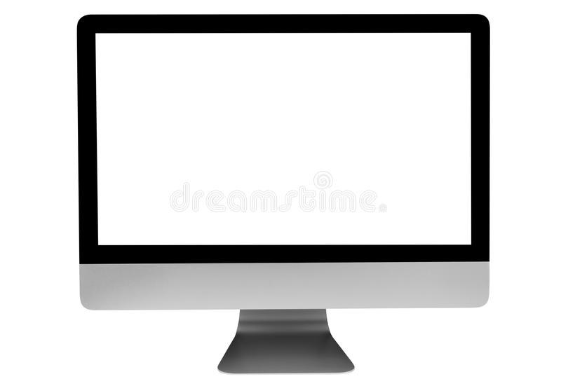 компьютер ПК на таблице места для работы стола офиса показывая экран изолированный пробелом белый, изолированный на белизне, косм стоковые фотографии rf