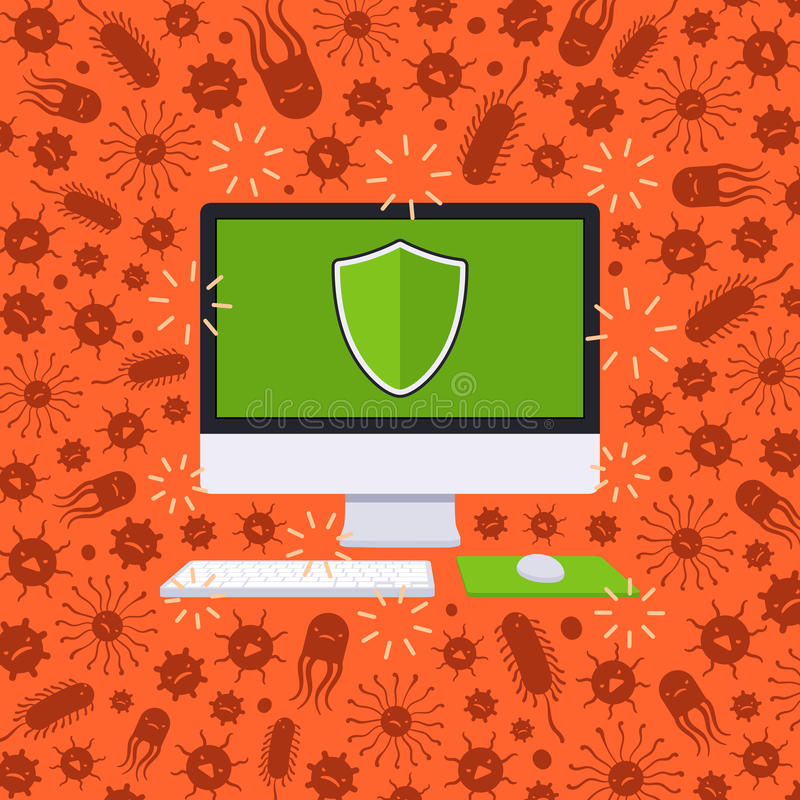 Компьютер под нападением вируса иллюстрация вектора