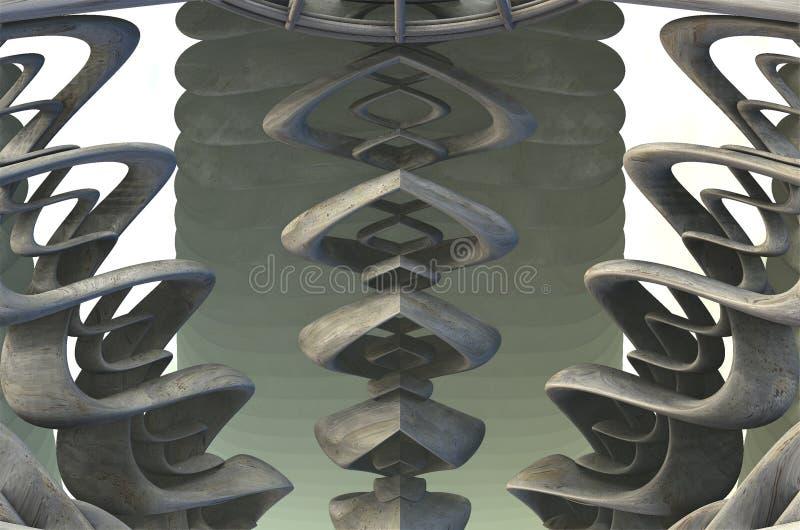 Компьютер представил виртуальный пейзаж иллюстрация вектора