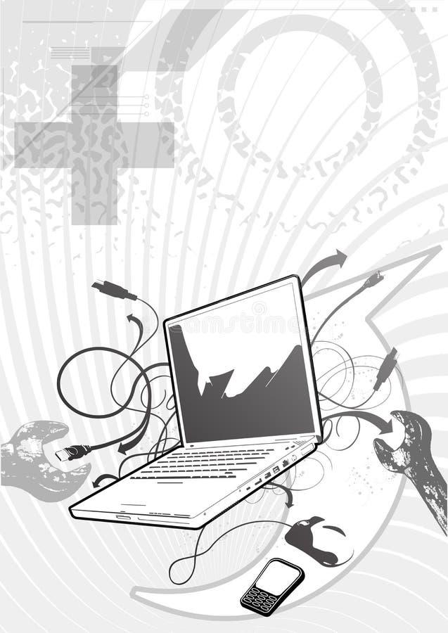 Компьютер ремонтируя предпосылку стоковое изображение rf