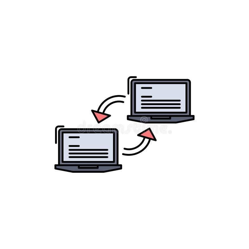 Компьютер, соединение, связь, сеть, вектор значка цвета синхронизации плоский иллюстрация штока