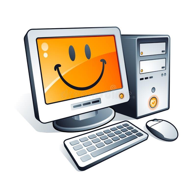 компьютер счастливый иллюстрация штока
