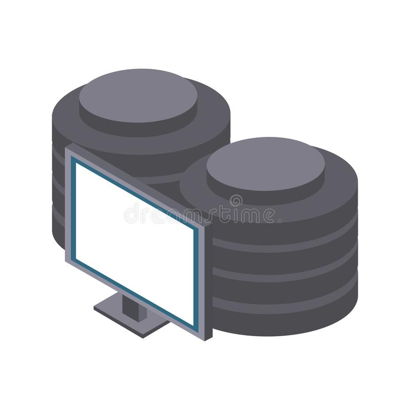 Компьютер с дисками равновеликими иллюстрация штока