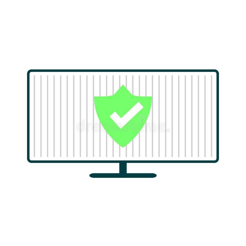 Компьютер с зеленым экраном бесплатная иллюстрация