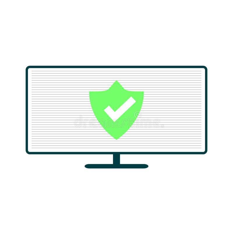 Компьютер с зеленым экраном иллюстрация штока