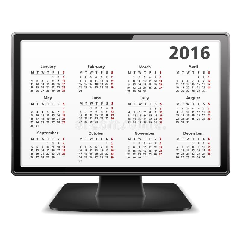 Компьютер с календарем 2016 иллюстрация вектора
