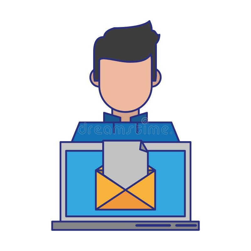 Компьютер с конвертом бесплатная иллюстрация