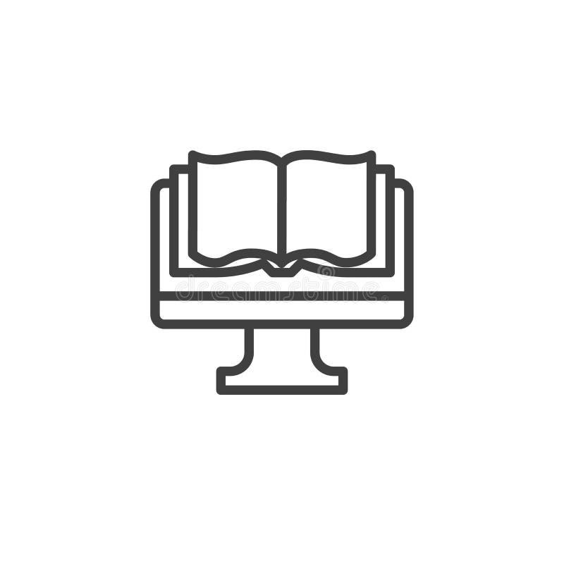 Компьютер с линией значком книги иллюстрация вектора
