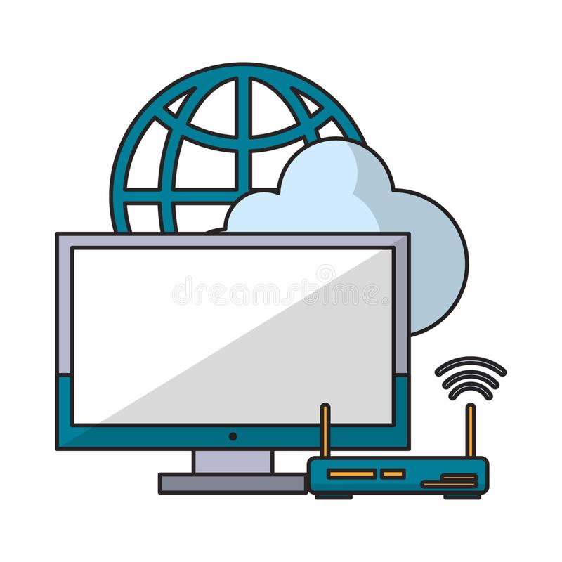 Компьютер с маршрутизатором и глобусом иллюстрация штока