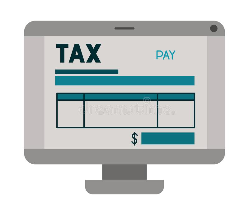 Компьютер с налогом на линии бесплатная иллюстрация