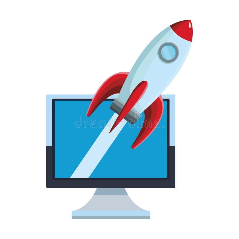 Компьютер с ракетой бесплатная иллюстрация