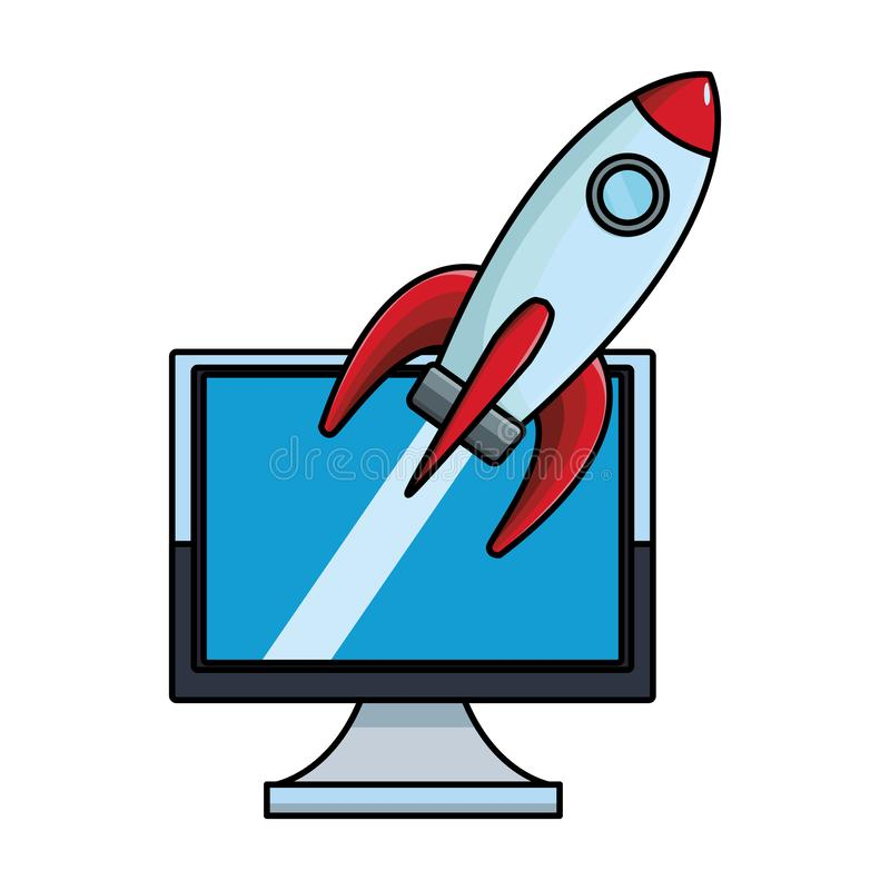 Компьютер с ракетой иллюстрация вектора