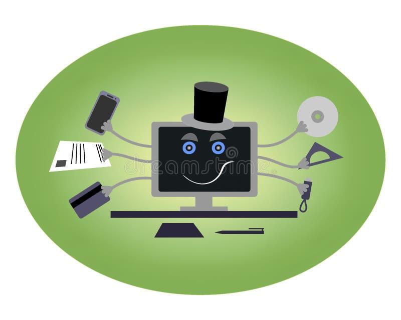 Компьютер с руками и шляпой иллюстрация штока