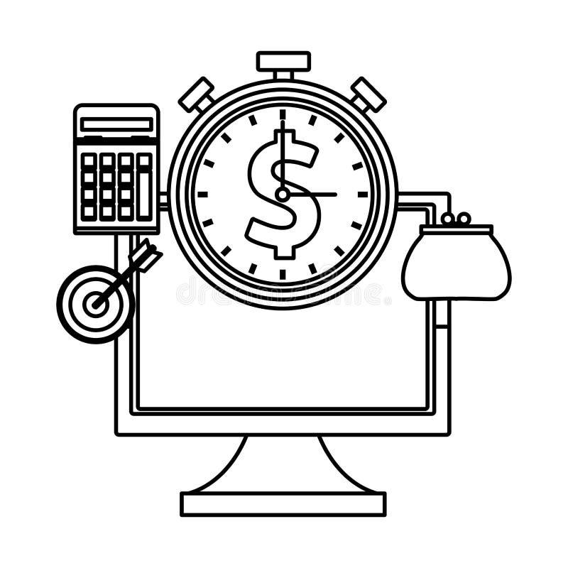 Компьютер с секундомером иллюстрация штока
