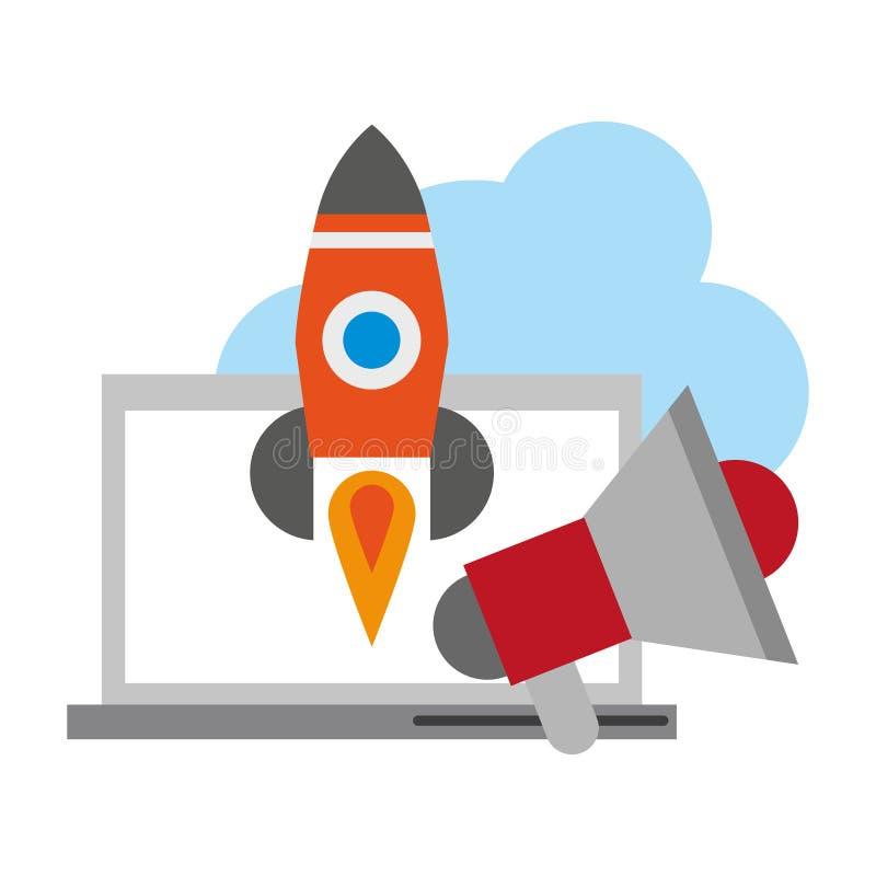 Компьютер с peripone и ракетой бесплатная иллюстрация