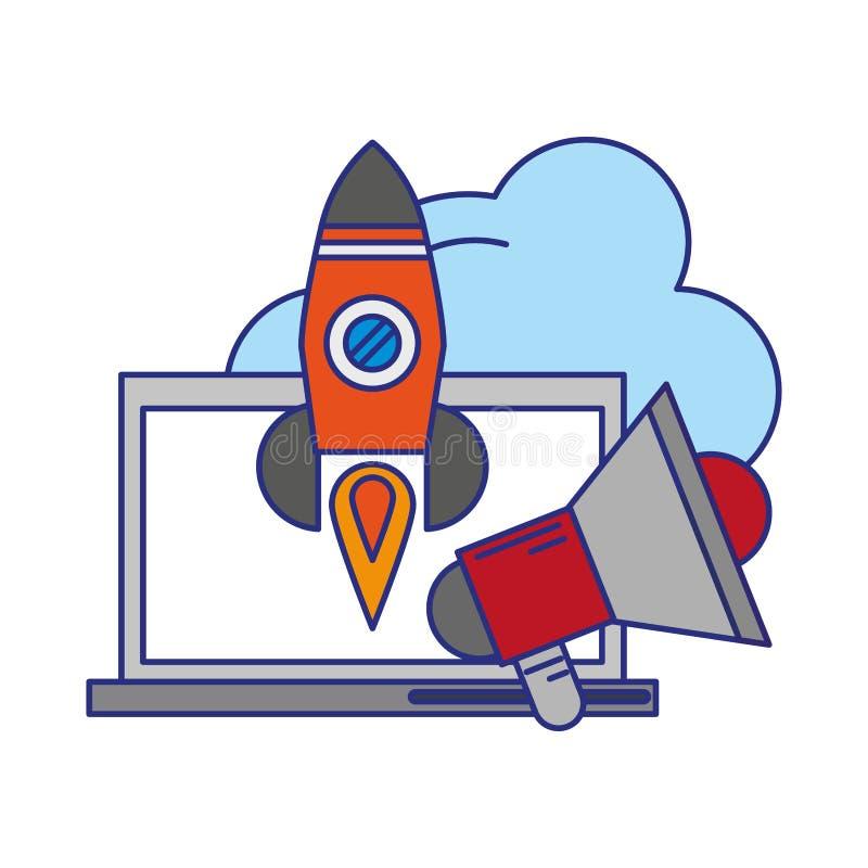 Компьютер с peripone и ракетой иллюстрация вектора