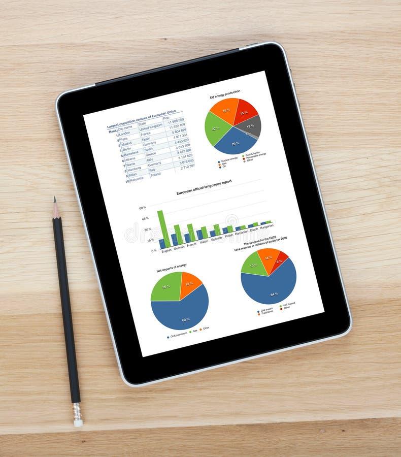 Компьютер таблетки экрана касания с пустым экраном и карандашем стоковая фотография
