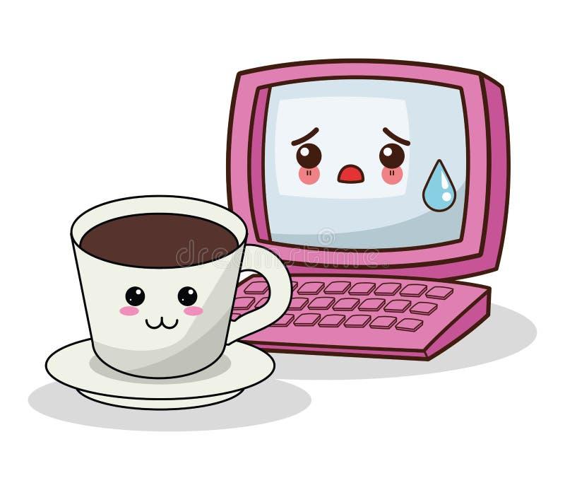 Компьютер Kawaii с изображением кофейной чашки иллюстрация штока