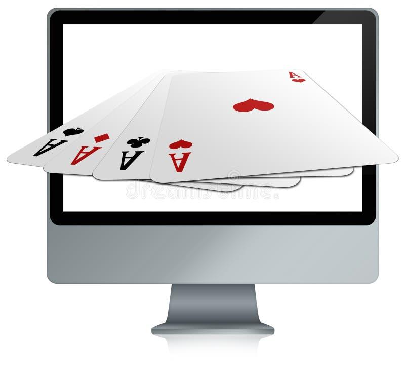 компютерные игры карточки он-лайн иллюстрация штока