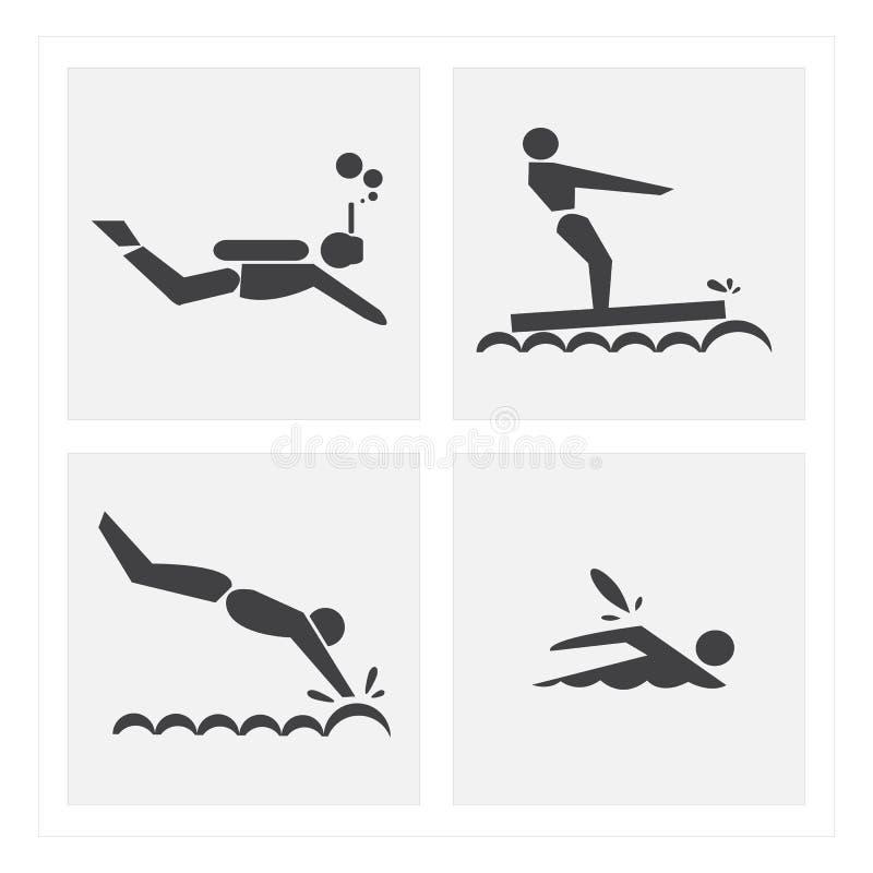 Комплекты заплывания тренировки значка стоковые изображения rf