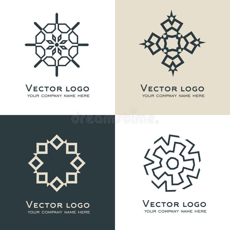 Комплект абстрактного геометрического логотипа Кельтский, арабский стиль Священный значок геометрии Дизайн идентичности бесплатная иллюстрация