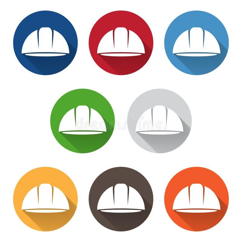 Комплект абстрактного шаблона вектора значка шлема работника иллюстрация вектора