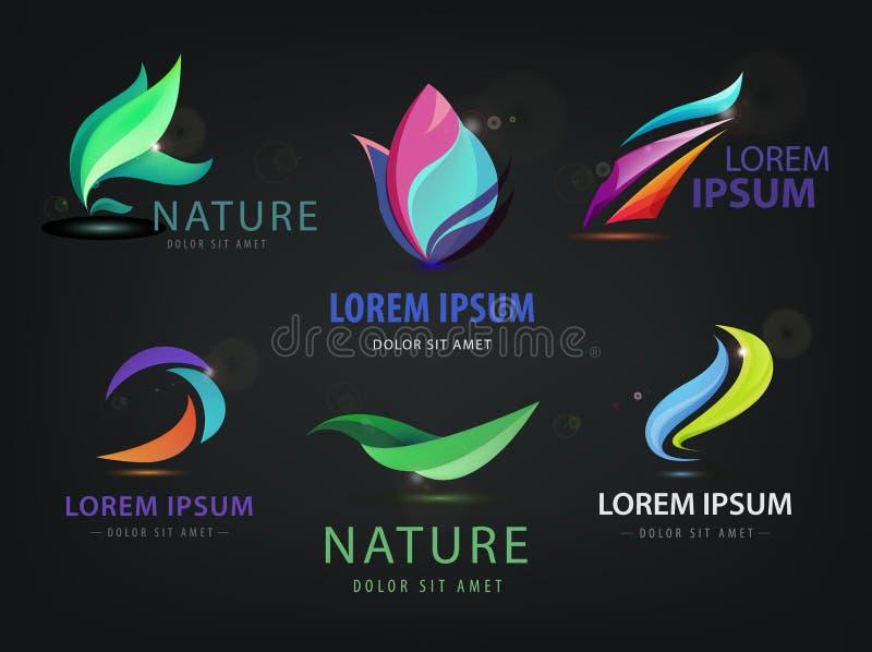 Комплект абстрактное волнистого, курорт вектора, салон, логотипы природы, значки на темной предпосылке иллюстрация вектора