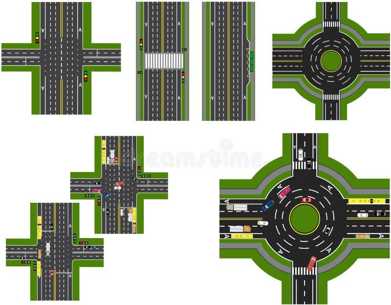 Комплект абстрактной транспортной развязки Перекрестки различных дорог Циркуляция карусели Транспорт иллюстрация иллюстрация вектора