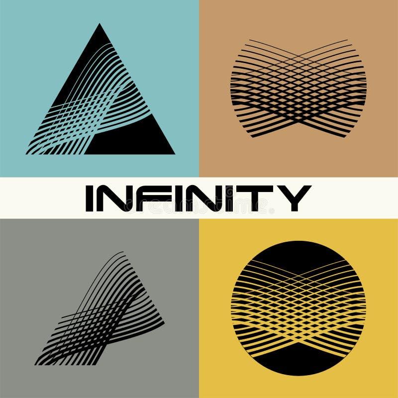 Комплект Абстрактный шаблон дизайна логотипа безграничности иллюстрация вектора