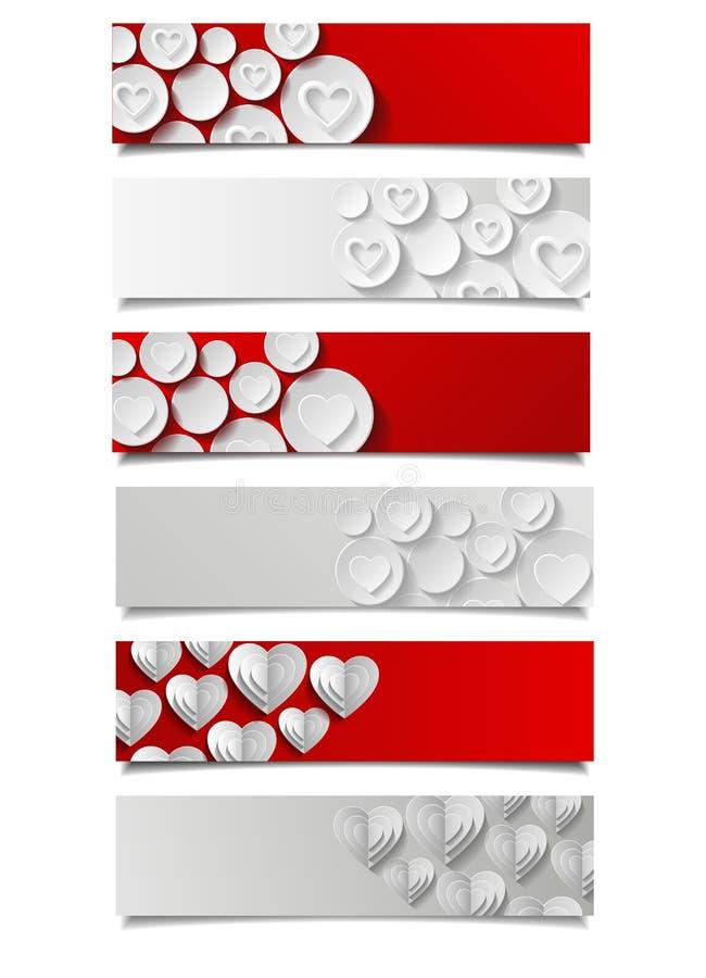 Комплект абстрактных знамен с сердцами бесплатная иллюстрация